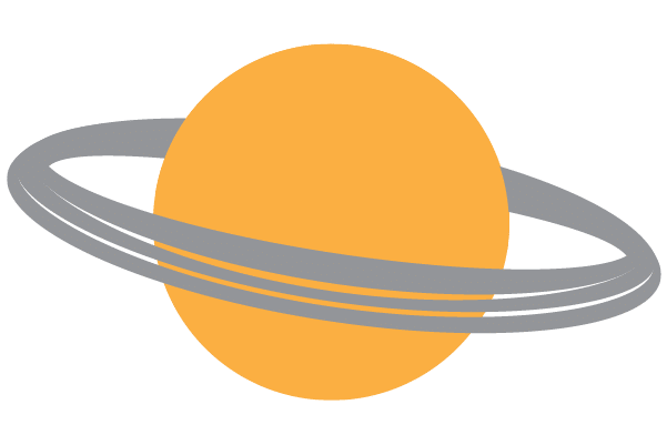 Yellow planet with rings