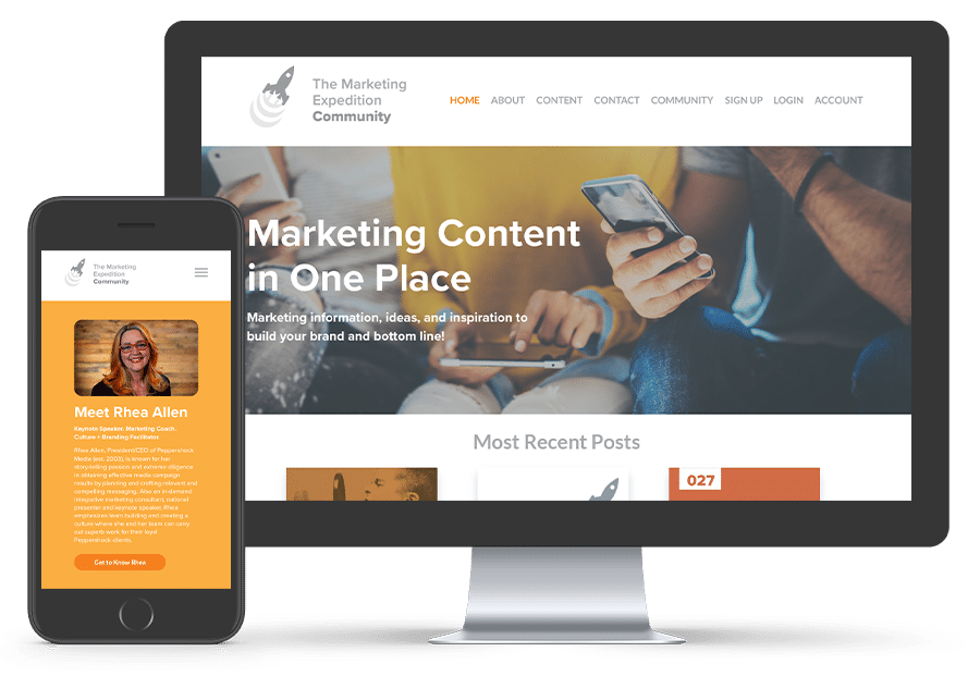 The Marketing Expedition Homepage Mockup on Phone and Desktop